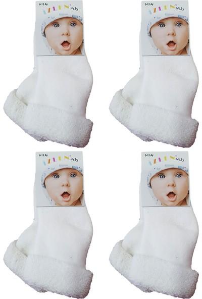 CemBebe Havlu Çift Kat Kalın Kışlık Bilekte Iz Yapmayan Beyaz Kız Erkek Bebek Çorap (4 Adet Gönderilir)