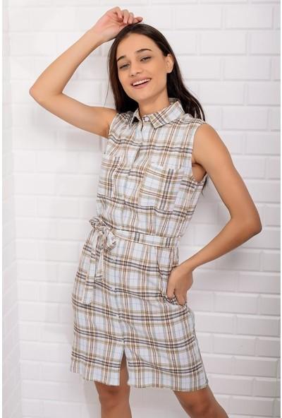 Stile İst Ekoseli Gömlek Elbise