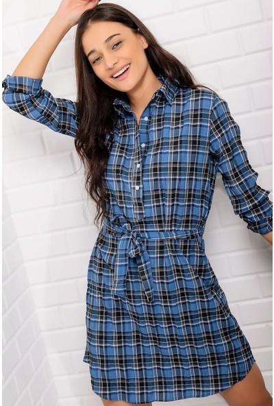 Stile İst Desenli Gömlek Elbise