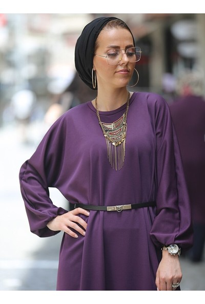 Esra Üstün Ferace Elbise Mor