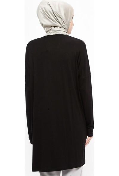 Plistre Doğal Kumaş Basic Tunik Siyah