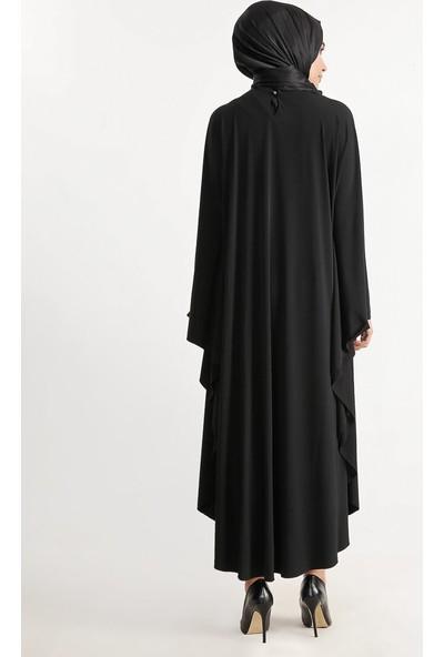 Plistre Salaş Elbise Ferace Siyah