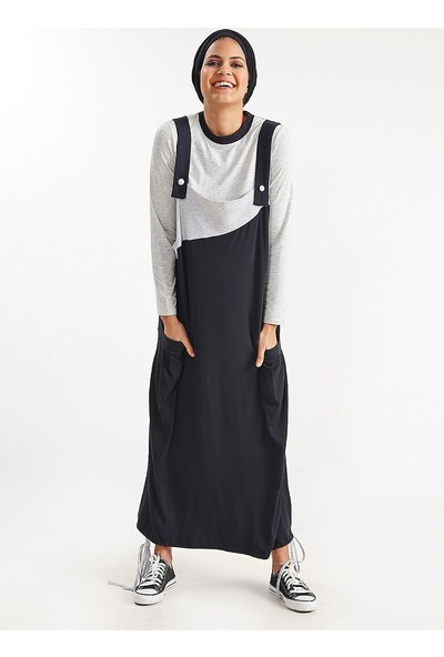 Plistre Salopet Elbise Siyah