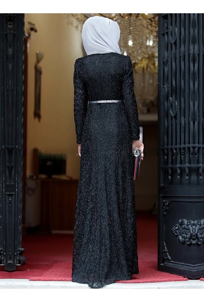 Amine Hüma Orkide Abiye Elbise Siyah