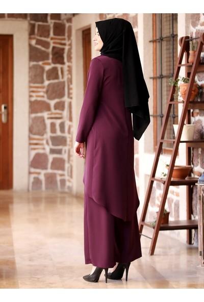Amine Hüma Beliz Pantolon&Amp;Amp;Tunik İkili Takım Mor