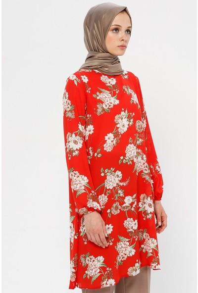 Ginezza Çiçek Desenli Tunik Kırmızı Bej