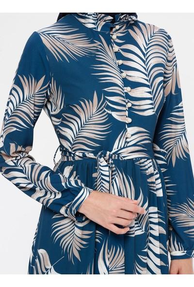 Panaline Yakası Fırfırlı Elbise İndigo