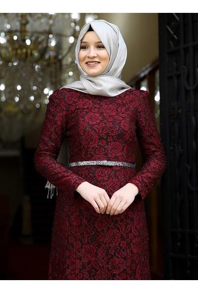Amine Hüma Hayal Abiye Elbise Bordo
