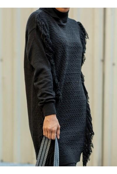 Gizem Kış Püskül Detaylı Tunik&Amp;Amp;Pantolon 2`Li Takım Siyah