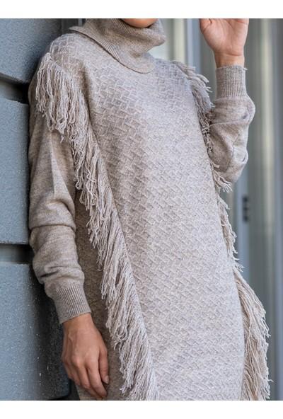 Gizem Kış Püskül Detaylı Tunik&Amp;Amp;Pantolon 2`Li Takım Taş