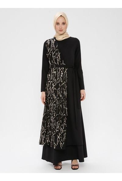 Bürün Payet Detaylı Elbise Siyah Gold