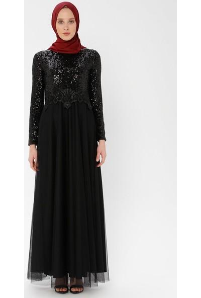 Arin Kadın Beli Motifli Pul İşlemeli Tül Etek Abiye Elbise