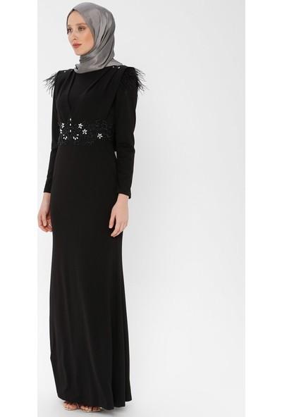 Arin Kadın Taş İşlemeli Tüy Detaylı Balık Abiye Elbise