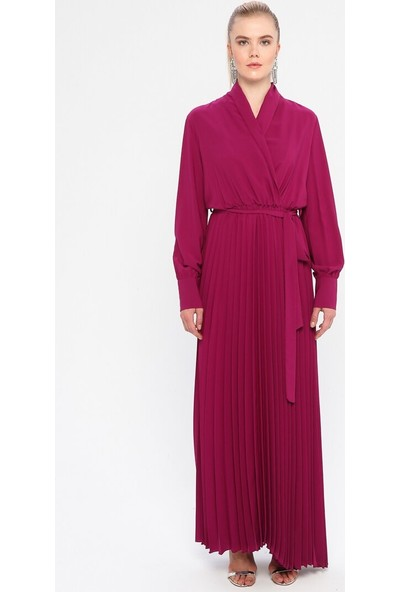 6Ixty8Ight Kadın Kruvaze Yaka Piliseli Elbise