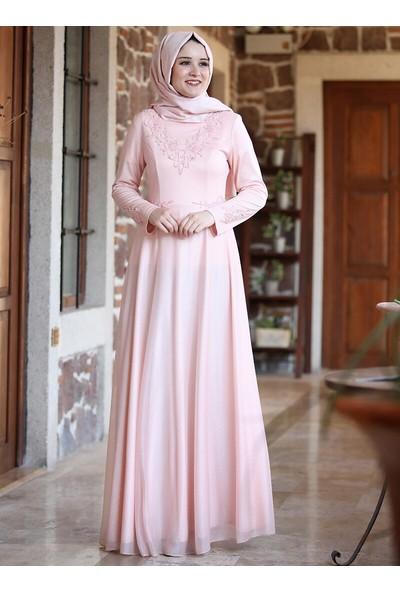 Amine Hüma Kadın Buhara Abiye Elbise Pudra