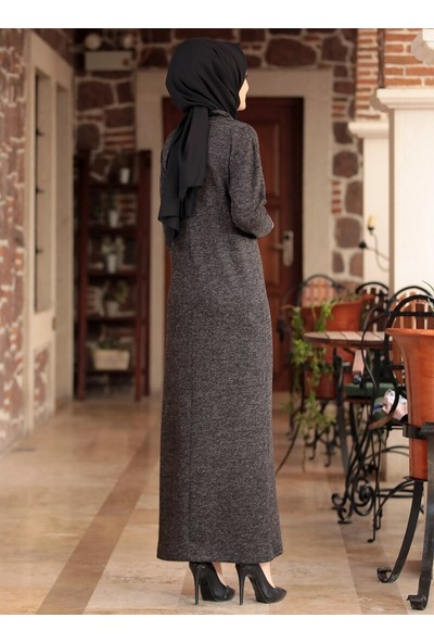 Amine Hüma Selin Triko Elbise Siyah
