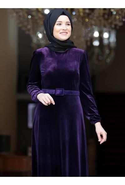 Amine Hüma Tutku Kadife Elbise Mor