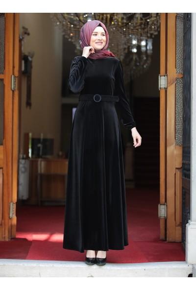 Amine Hüma Tutku Kadife Elbise Siyah