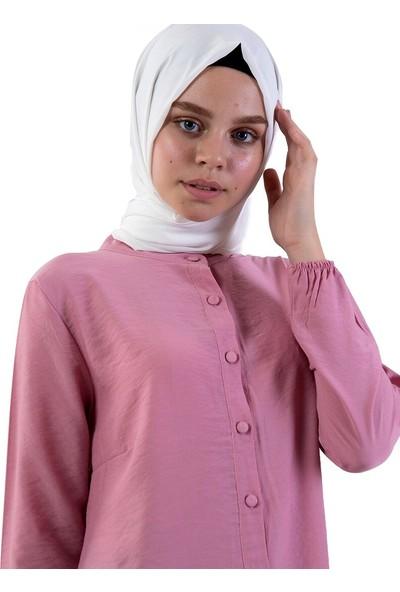 Ilmek Triko Kadın Boydan Düğmeli Tunik Lila