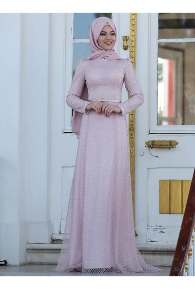 Al-Marah Kadın Inci Abiye Elbise Pudra