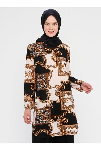 Hanimşah Kadın Desenli Tunik Siyah