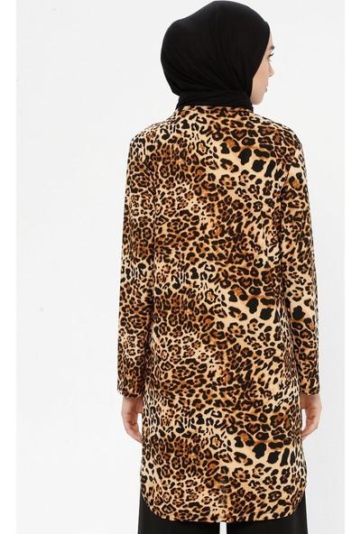 Hanimşah Kadın Leopar Desenli Tunik Kahverengi