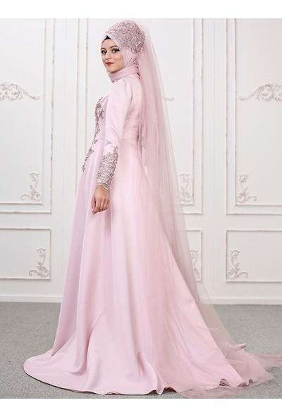 Somfashion Kadın Lilyum Abiye Elbise Pudra