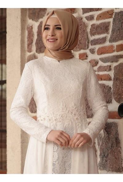 Amine Hüma Kadın Yakomoz Abiye Elbise Ekru