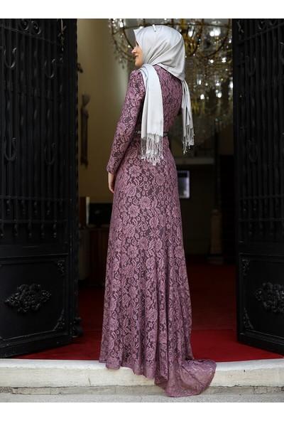Amine Hüma Kadın Hayal Abiye Elbise Gül Kurusu