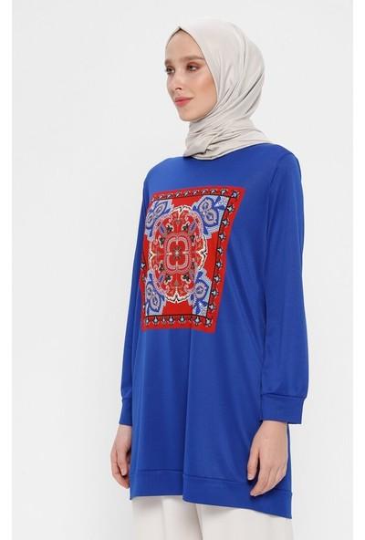 Hanimşah Kadın Baskılı Tunik Mavi