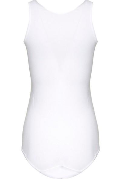 Akbeniz Kalın Askılı Çıtçıtlı Body - Beyaz