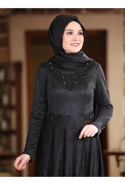 Amine Hüma Kadın Buhara Abiye Elbise Siyah