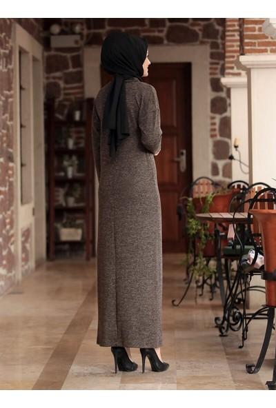 Amine Hüma Selin Triko Elbise Kahverengi