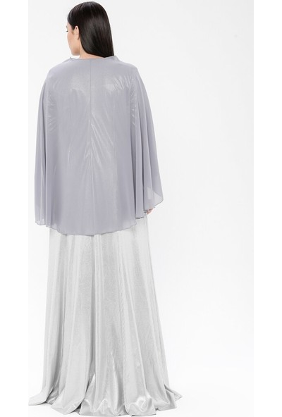 Mileny Kadın Pelerinli Abiye Elbise Gri