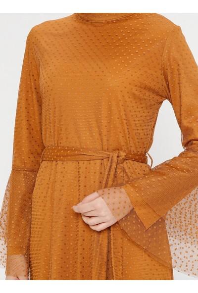 Bürün Volan Detaylı Tüllü Elbise Hardal