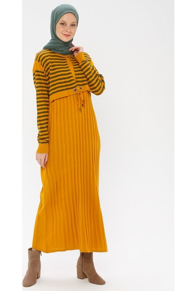 Veteks Line Kadın Triko Elbise Hardal