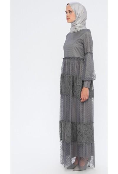 Bürün Dantel Detaylı Tüllü Elbise Füme