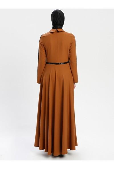 Bürün Yakası Volanlı Elbise Hardal