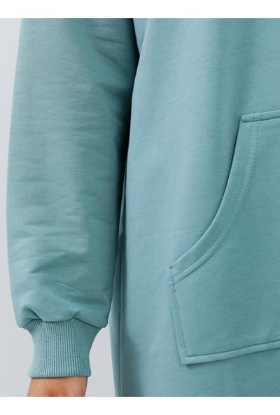 Everyday Basic Kadın Kapüşonlu Spor Tunik Mint Everday Basic Modanisa