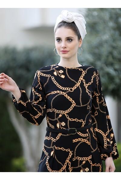 Selma Sarı Design Zincir Desenli Tulum Siyah Gold