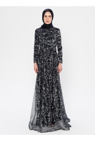 Mileny Kadın Simli Abiye Elbise Lacivert