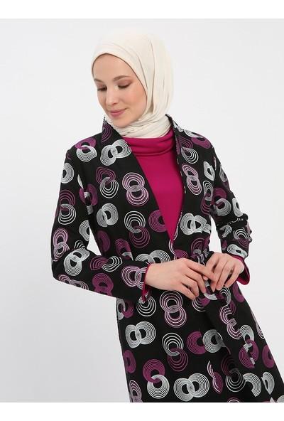 Nilüfer Kamacıoğlu Elbise Kap İkili Takım Siyah Fuşya