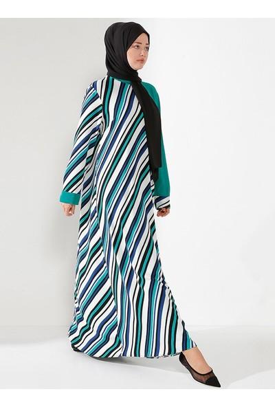 Nilüfer Kamacıoğlu Salaş Çizgili Elbise Yeşil Siyah