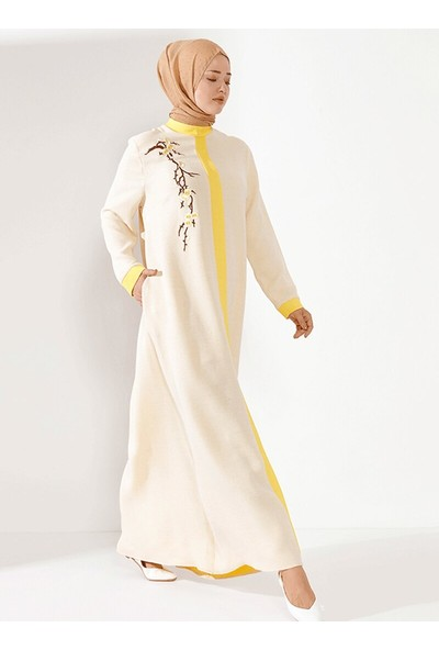 Nilüfer Kamacıoğlu Önü Patlı Aplikli Elbise Sarı