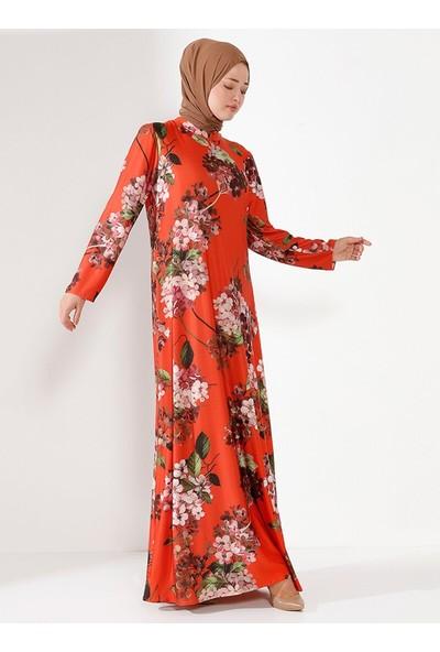 Nilüfer Kamacıoğlu Çiçekli Elbise Turuncu