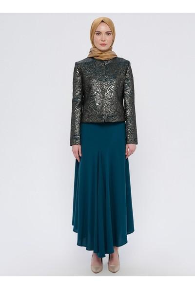 Nilüfer Kamacıoğlu Volanlı Etek Abiye Ceket 2`Li Takım Yeşil