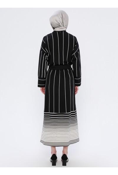 Nilüfer Kamacıoğlu Çizgili Elbise Siyah Beyaz