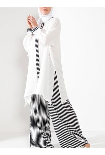 Nilüfer Kamacıoğlu Kadın Çizgili Takım Siyah Beyaz