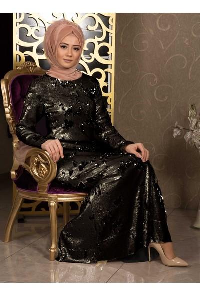 Iz Otantik Kadın Çift Yönlü Pul Payetli Abiye Elbise Siyah Gold