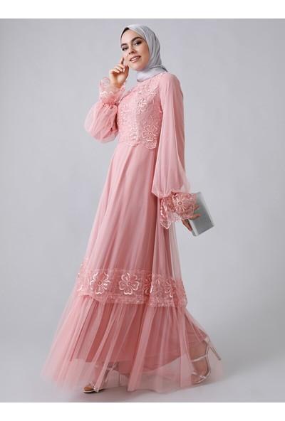 Refka Kadın Tüllü Dantelli Abiye Elbise Pembe